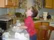 Riley mixing the homemade biscuit dough